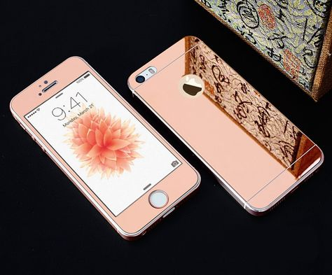 1639c3fd583 Full Screen Front+Rear Back 2PCS Mirror Plating Tempered Glass Protector  Film Case for iphone 4 4s SE 5 5s 6 6s 7 Plus 6Plus