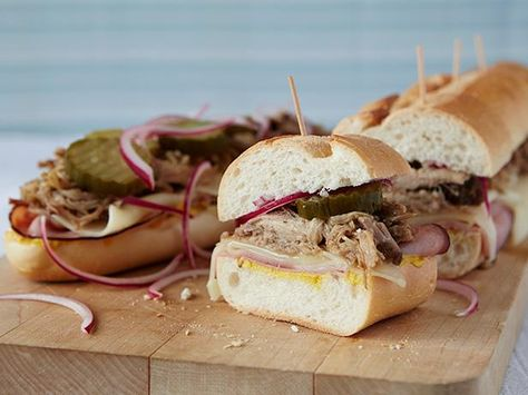 Recipe of the Day: Jeff's Slow-Cooked Cuban Sandwich         Slow cook pork shoulder until it falls apart before adding it to a sub roll with ham, pickles, onions and a good smear of yellow mustard.