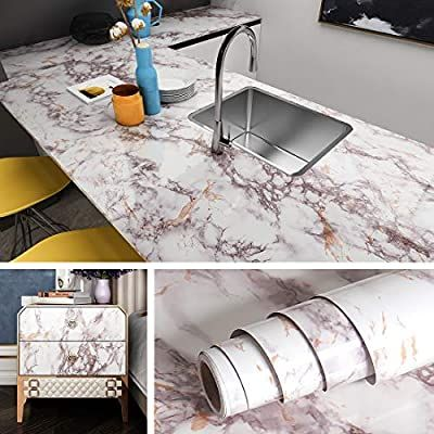 Livelynine Marble Contact Paper Peel And Stick Countertops Waterproof Desk Kitchen Marble Wall Paper Self Adhesive Countertops Kitchen Marble Kitchen Wallpaper