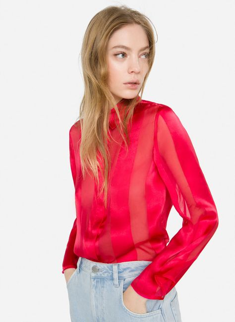 Red silk shirt - Shirts and blouses - Ready to wear - Uterqüe Spain