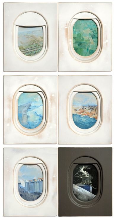 Windows by Jim Darling | Windows by Jim Darling | The best part of any plane ride, executed beautifully in paint and wood. I love this idea. // loved by www.herrsuite.com