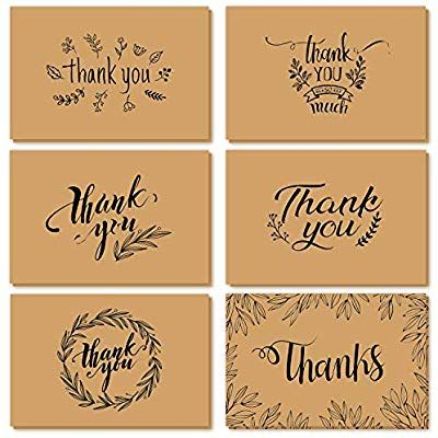 Thank You Cards Of Ohuhu 36 Pack Brown Kraft Paper 6 Design Of Assorted Thank U Greeting Note Card With Envelopes Thank You Cards Brown Kraft Paper Note Cards