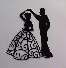 Die Cut  Bride & Groom Silhouette Card Toppers   Card Making Embellishments