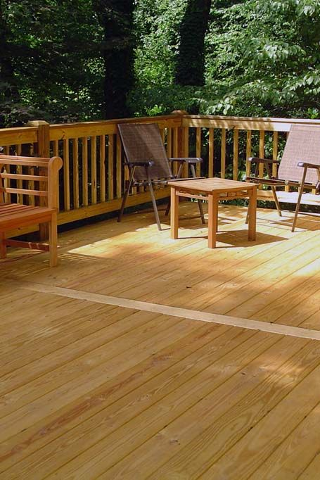 Wood Deck With Center Strip And Picture Frame Border Wood Rails