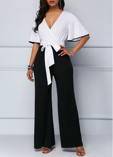 One Shoulder Contrast Trim Navy Blue Jumpsuit | Rotita.com - USD $27.88