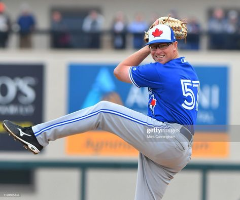 Trent Thornton of the Toronto Blue Jays pitches during the Spring...