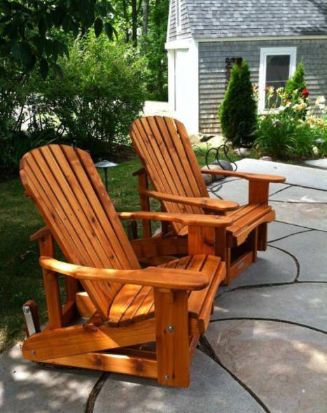 Cedar Adirondack Glider Rustic Outdoor Furniture Fire Pit Patio Adirondack