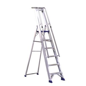 Lightweight Aluminium Step Ladders With Handrail Available In A Variety Of Heights From 5 Steps To A Sky Skimming 12 Treads Constructed With Extra Safety Stra