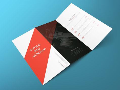 Z Fold Brochure Free PSD Mockup Graphic Design Inspiration - gate fold brochure mockup
