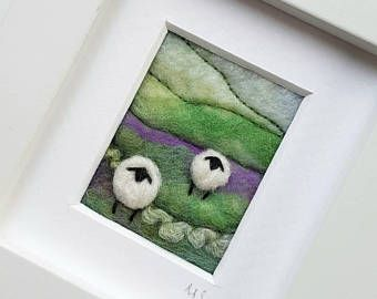 Sheep landscape - original felted and embroidered artwork - fiber art, fabric art