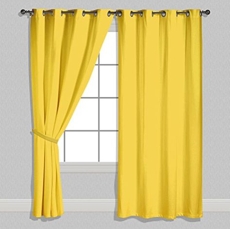 American Elm Both Sided Solid Yellow Satin Curtains Two Https