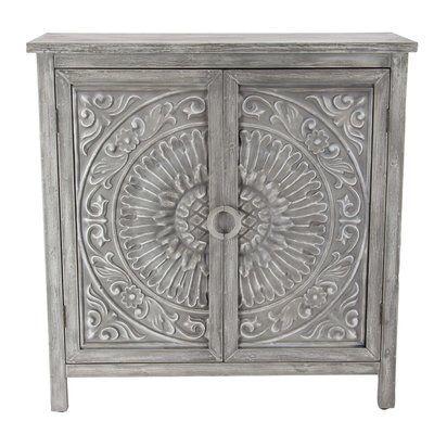 Ignazio Wood Flourished 2 Door Accent Cabinet Accent Doors Accent Cabinet Grey Wood