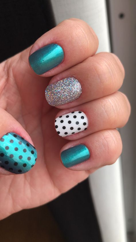 Color Street Nails - Holy Teal-edo, Swiss and Tell, Fort Worth It and Polka Dot Com Teal Nails, Leopard Nails, Polka Dot Nails, Uv Gel Nails, Fancy Nails, Cute Nails, Pretty Nails, Manicure, Hair And Nails