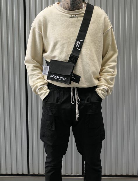 Men's Utility Trend // A-Cold-Wall Long-sleeve Crewneck, A-Cold-Wall Crossbody Bag, Rick Owens Cargo Pants.