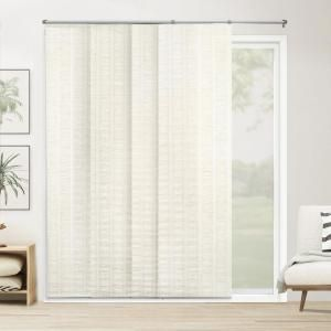Chicology Panel Track Blinds Seaside White Cordless Light Filtering Adjustable With 22 In Slats Up To 80 In W X 96 In L Drspsw8096 The Home Depot Panel Track Blinds Sliding Panel blinds for patio doors