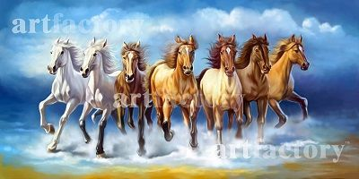 Vastu Running Seven Horse Painting Seven Horses Painting Animal Canvas Horse Painting