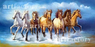 Vastu Running Seven Horse Painting Seven Horses Painting Horse Canvas Painting Animal Canvas