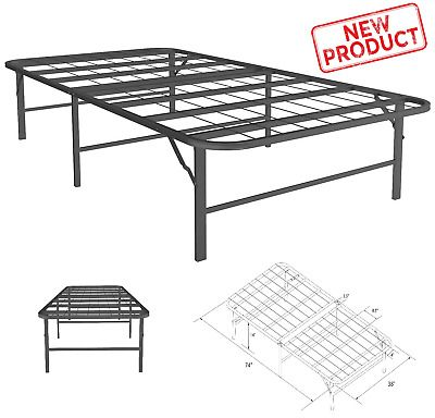 Twin Size Bed Platform Foldable Lightweight Bedroom Metal Frame
