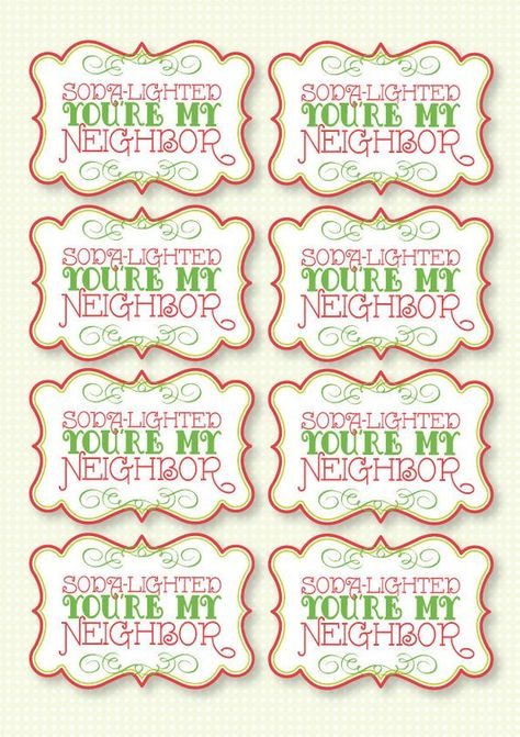 Christmas PRINTABLE Party 'Soda Delighted You're My Neighbor' Gift Tags (INSTANT DOWNLOAD) by Love T
