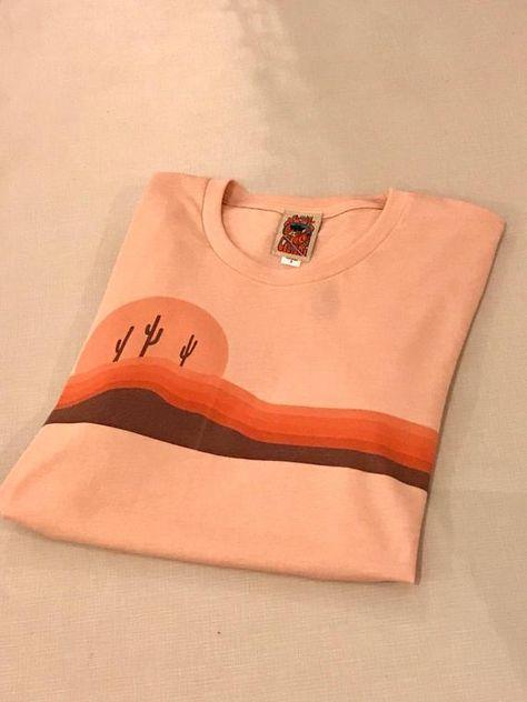 6c9876398 Unisex 70s Salmon Desert Horizons tee | Soft 1970s style desert peach coral  pink orange and brown graphic retro tshirt | Cactus shirt