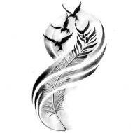 Wzór tatuażu piórko
