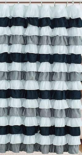Waterfall Ruffled Fabric Shower Curtain Black White Black