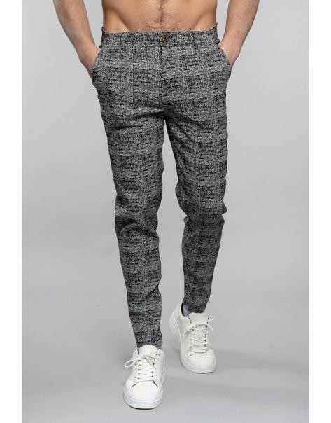 Pantalon noir tendance avec des carreaux