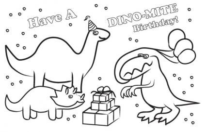 Printable Dinosaur Birthday Card To Color Birthday Card