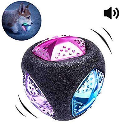 Pedomus Light Up Squeak Dog Ball Balls Flash Led Squeaker Ball Dog