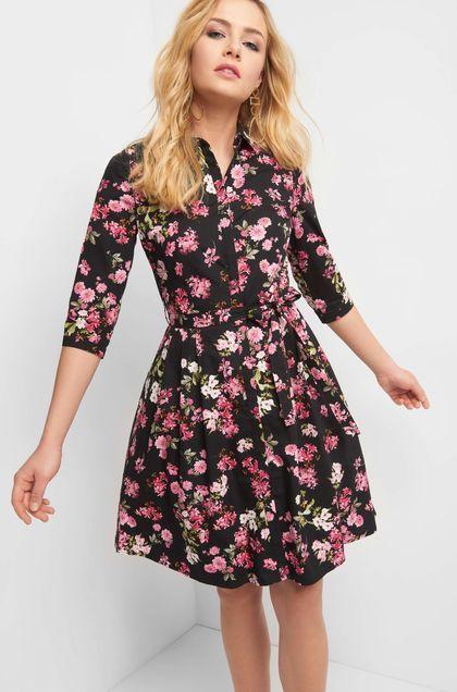 Rozkloszowana Sukienka W Kwiaty Czarny Plus Size Formal Dresses Dresses Casual Dress