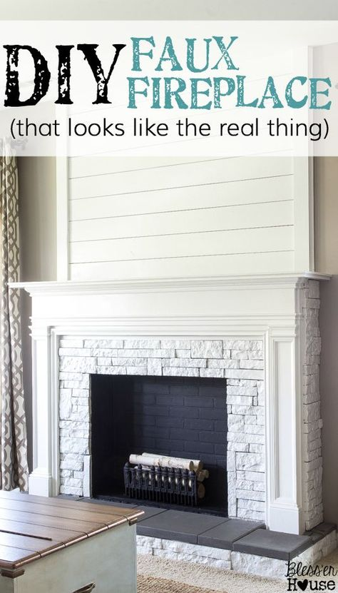 Diy Faux Fireplace Updated Bless Er House Faux Fireplace Diy Faux Fireplace Fireplace Update