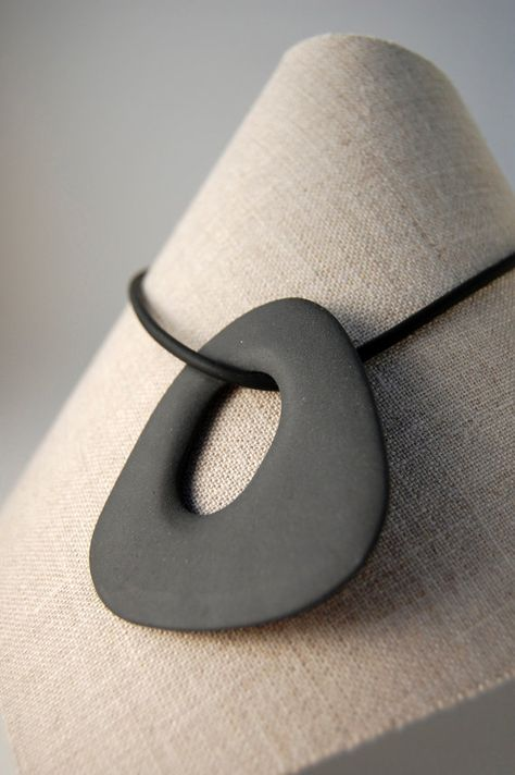 Black Porcelain Nacklace - Tinted Porcelain and Black Neckband with Silver Clasp - Bone Series by yasha butler