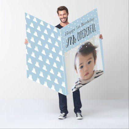 Mr Onederful Boy 1st Birthday Photo Giant Greeting Card 1st Boy Birthday 1st Birthday Cards 1st Birthday Photos