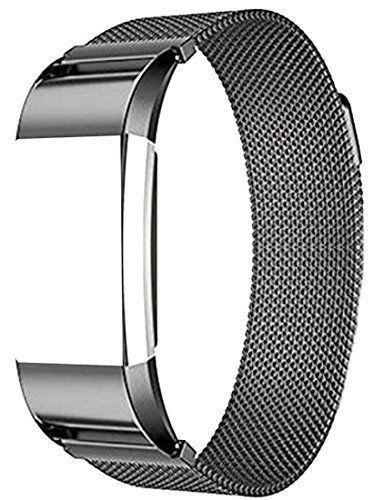 Metal Stainless Steel Loop Wristband Strap For Fitbit Charge 2 Band Black