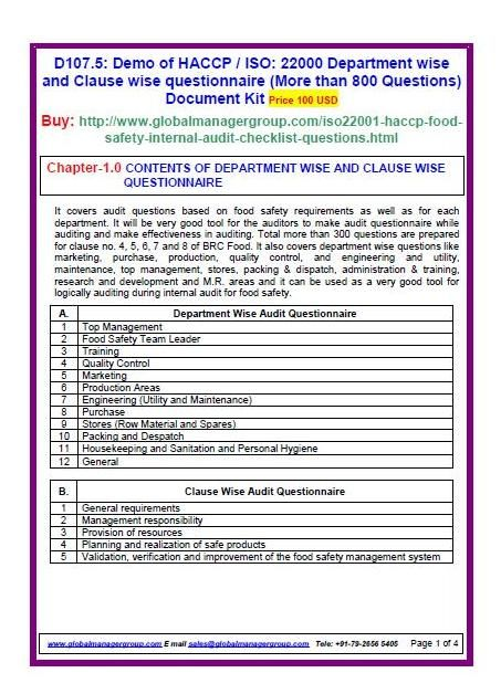 Iso  Food Safety Standards Requirement Wise Audit