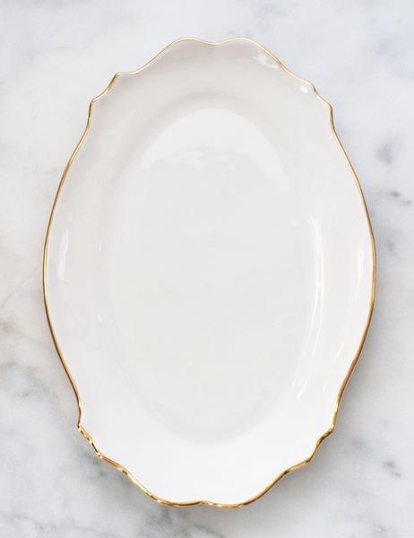 Handmade Heirlooms Baroque Platter In White With Gold Rim Suite One Studio Handmade Tableware Antique Dishes Ceramic Tableware