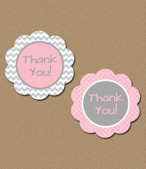 INSTANT Chevron Pink Party Circles  Thank You by digitalartstar, $5.00
