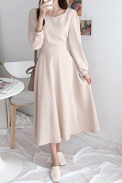 Sugarfun Sindy Basic Long Dress - Korean Clothing & Cosmetics