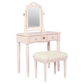 Girls Solid Pink 3 pc Vanity Set Mirror Wooden Table Stool Makeup Drawer Bedroom