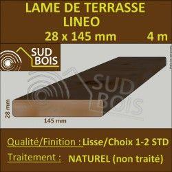 Lame De Terrasse Bois Lineo 28x145mm Douglas Hors Aubier Lisse 4m