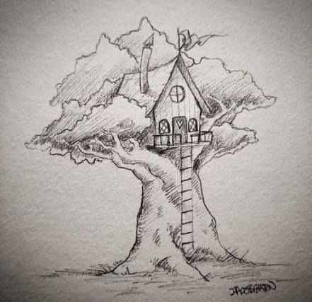 New House Art Drawing Coloring Pages Ideas Tree House Drawing Fantasy Drawings Drawings