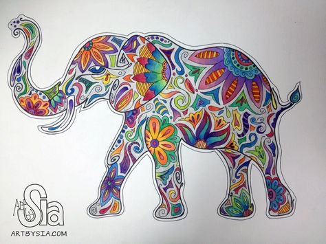 Mehndi Elephant Coloring Pages : Painted elephant art print by corinnedesigns on etsy a vibrant
