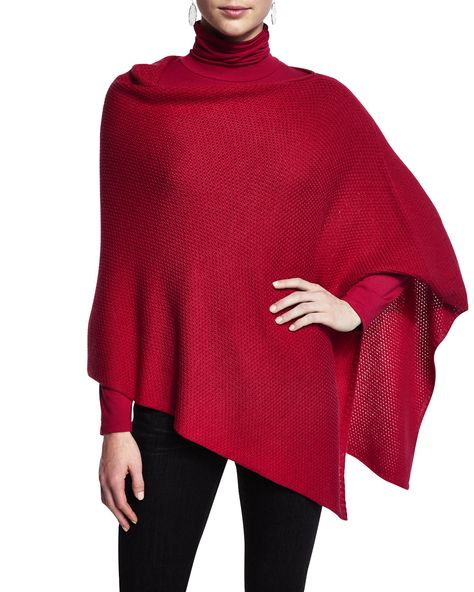 Merino Wool Textured Poncho, Women's, Black - Eileen Fisher