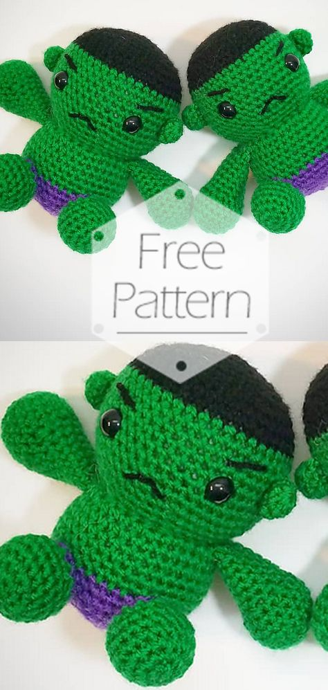 Toy Art Amigurumi Hulk - free pattern by Crochelandia | 997x474