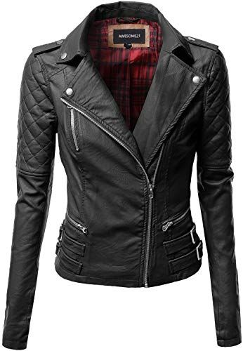 Amazing Offer On Awesome21 Women S Zipper Motorcycle Biker Faux Leather Jackets Online Leather Jackets Online Black Faux Leather Jacket Faux Leather Jackets