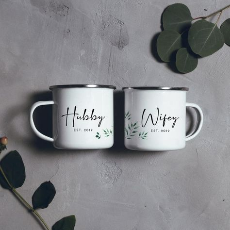 Wifey Mug Hubby Mug Camping Mug Couples Mugs Personalised Camp Mug Greenery Mr and Mrs Mugs Wedding Couple Mugs Campfire Mug  Features: ~ Single Sided Print ~ Floral design wrapping around the side of the mug ~ Size: 10 oz / 8cm x 8cm ~ Material: Metal, Stainless Steel, Sublimation Coated White