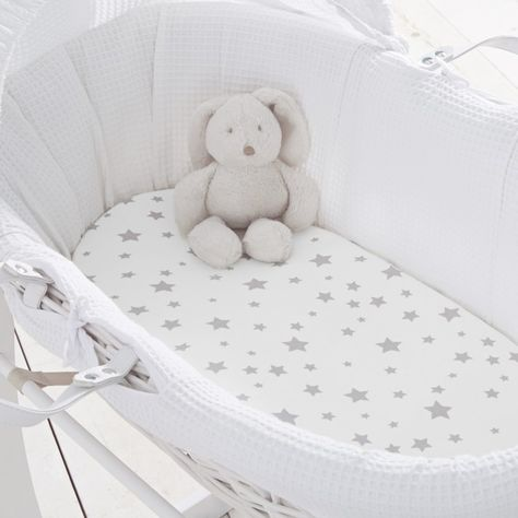 White, Pack of 2 Cuddles Collection Moses Basket Fitted Sheet