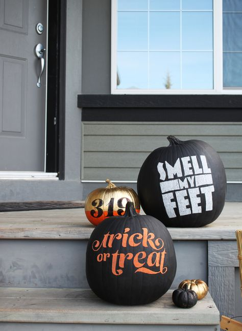 DIY No-carve Typography Pumpkins | Slick typographical pumpkins from the folks at Fairgoods. via 7 Fave DIYs of the Week