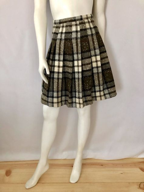 3fe1858ca9 Vintage Women's 60's Mod, Wool, Plaid, Pleated, Mini Skirt (XS) by  Freshandswanky on Etsy