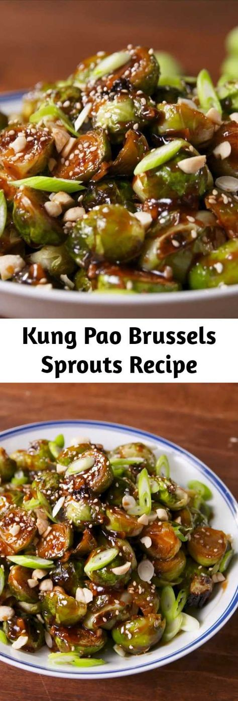 The kung pao sauce on these will turn everyone into a lover of Brussels sprouts. Salty, spicy, and addicting. #food #easyrecipe #healthyeating #cleaneating #vegetarian